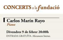 El piano vuelve a Concerts a la Fundació con una actuación del joven pianista Carlos Marín Rayo