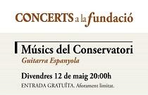 Alumnos del Conservatorio Superior de Música Joaquín Rodrigo de Valencia ofrecen una actuación de guitarra española en Concerts a la Fundació