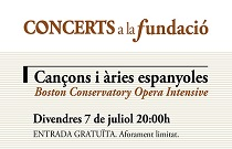 Fundación Bancaja clausura Concerts a la Fundació con un concierto de canciones y arias españolas a cargo de intérpretes del programa Boston Conservatory Opera Intensive