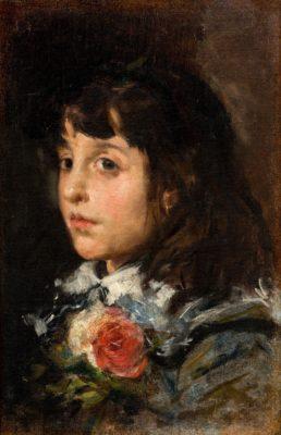 Cabeza de niña con flores