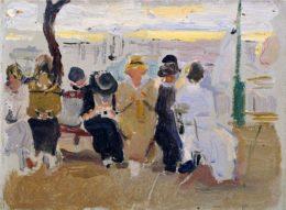 Señoras en un banco del paseo de la Concha. San Sebastián