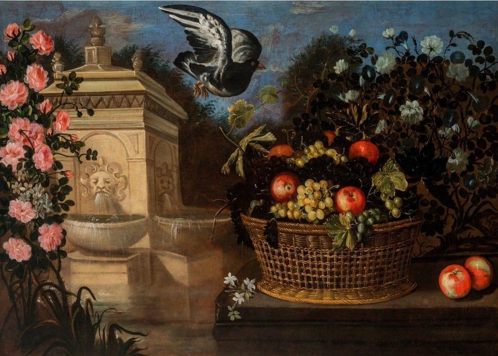Bodegón de cesta con frutas