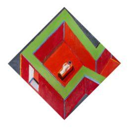 Habitación con figura roja y verde