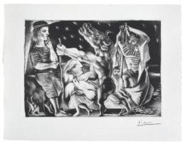 Suite Vollard. Estampa n.º 92: Minotauro ciego guiado por una niña en la noche. 1934